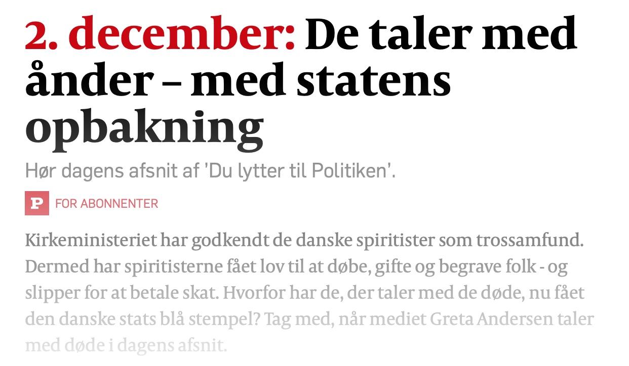 """Podcast i Politiken: """"De taler med ånder"""""""